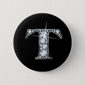 """T"" Diamond Bling Button"