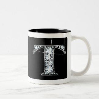 """T"" Diamond Bling on Black Mug"