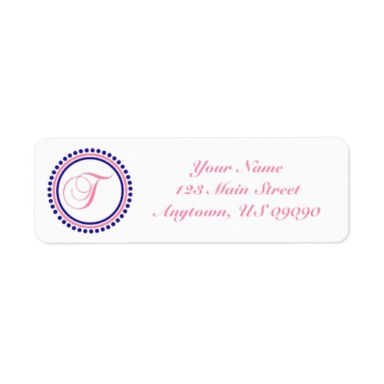 T Dot Circle Mongram Address Label (Pink / Blue)
