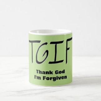 T.G.I.F. - Thank God I'm Forgiven Green Mug