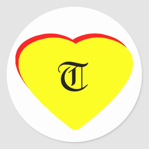 """""""T"""" Heart Yellow Red Wedding Invitation The MUSEUM Round Stickers"""