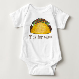 T is for Taco Mexican Food Alphabet Letter T Baby Bodysuit