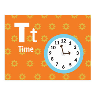"""T is for Time - Alphabet Flash Card - 5.5 x 4.25"""""""