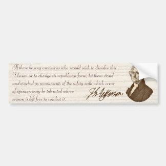T. Jefferson: Opinion & Reason - Bumper Sticker Car Bumper Sticker