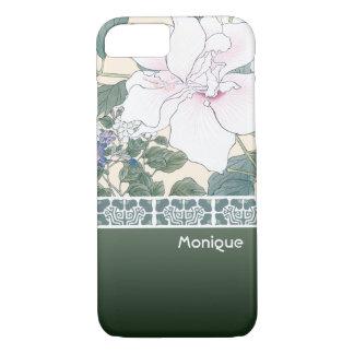 "T Kônan Wood Block Print ""Hibiscus and Browallia"" iPhone 8/7 Case"