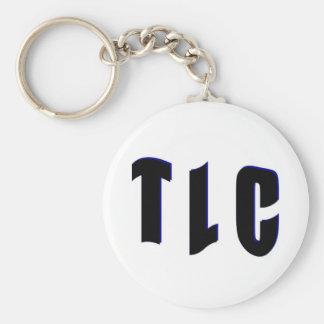 T L C BASIC ROUND BUTTON KEYCHAIN