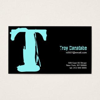 T Letter Alphabet Business Card Blue Black
