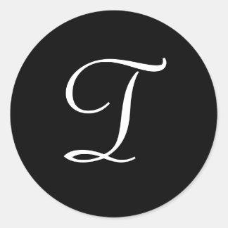 T Monogram Black White Wedding Stickers
