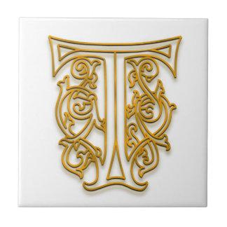 """T Monogram """"Irish Gold"""" Ceramic Tile"""