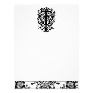 """""""T"""" Ornate Baroque Monogram Custom Letterhead"""