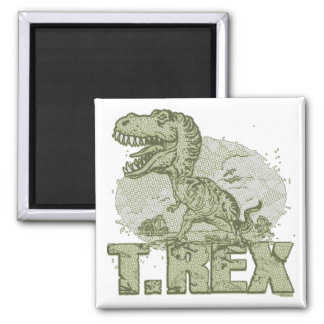 T Rex Big Dot Square Magnet