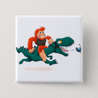 T rex bigfoot-cartoon t rex-cartoon bigfoot 2 inch square button