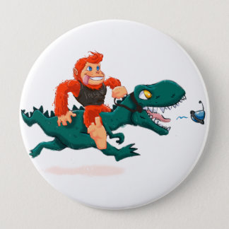T rex bigfoot-cartoon t rex-cartoon bigfoot 4 inch round button