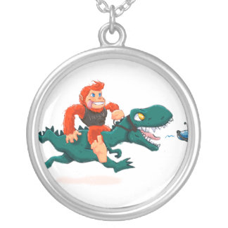 T rex bigfoot-cartoon t rex-cartoon bigfoot silver plated necklace