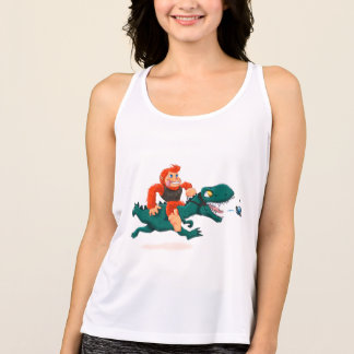 T rex bigfoot-cartoon t rex-cartoon bigfoot tank top