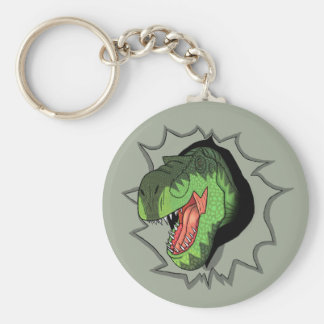 T-Rex busting out of Basic Round Button Keychain