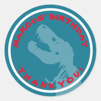 T Rex Dinosaur Birthday Thank You Stickers