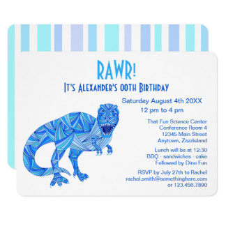 T-Rex Dinosaur Blue Prehistoric Birthday RAWR Card