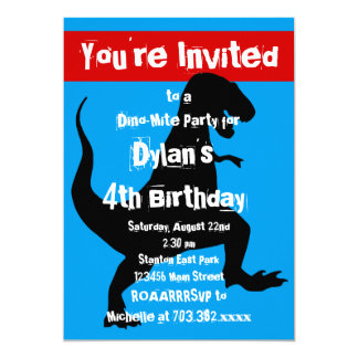 T Rex Dinosaur Blue Red Birthday Party Invitation