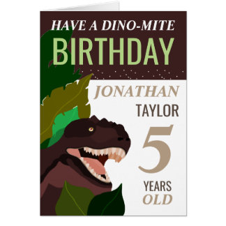 T Rex Dinosaur Children's Birthday Card
