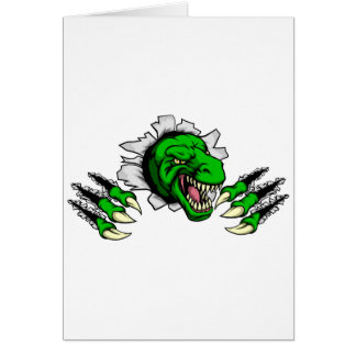 T Rex Dinosaur Clawing Hole in Background Card