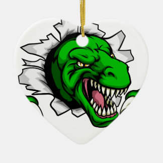 T Rex Dinosaur Clawing Hole in Background Ceramic Ornament