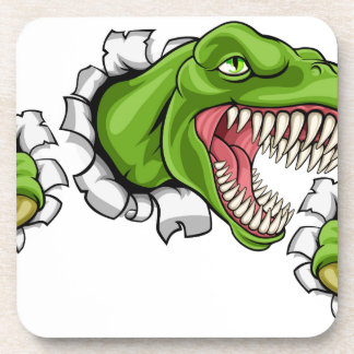 T Rex Dinosaur Clawing Hole in Background Coaster