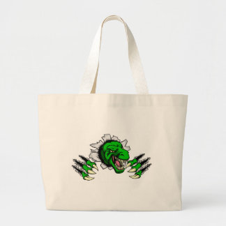 T Rex Dinosaur Clawing Hole in Background Large Tote Bag