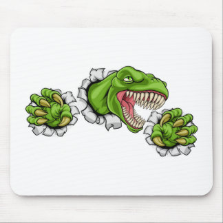 T Rex Dinosaur Clawing Hole in Background Mouse Pad