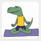 T-Rex Dinosaur Doing Yoga Square Sticker