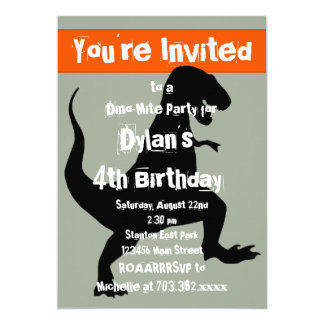 T Rex Dinosaur Orange Birthday Party Invitation
