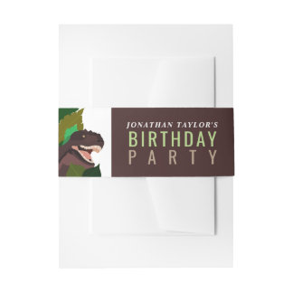 T Rex Dinosaur Party Children's Birthday Invitation Belly Band