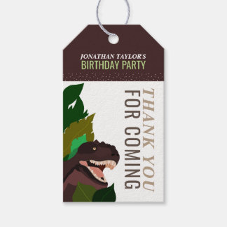 T Rex Dinosaur Party Children's Birthday Pack Of Gift Tags