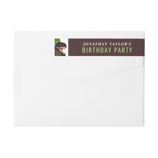 T Rex Dinosaur Party Children's Birthday Wrap Around Label