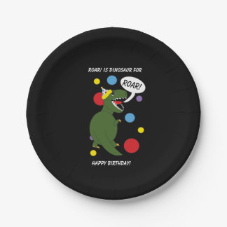 T-Rex Dinosaur Personalize Kids Birthday Party 7 Inch Paper Plate
