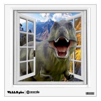 T-Rex Dinosaur Picture Mural Fake Window Wall Sticker