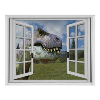 T-Rex Dinosaur Picture View Fake Window Poster