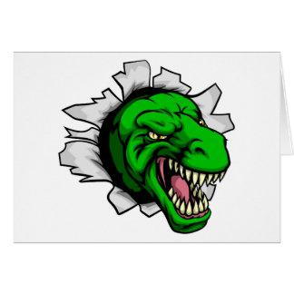 T Rex Dinosaur Ripping Through Background Card