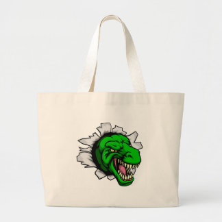 T Rex Dinosaur Ripping Through Background Large Tote Bag