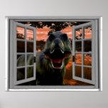 T-Rex Dinosaur Sunset View Faux Window Poster