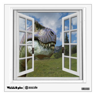 T-Rex Dinosaur View Mural Fake Window Wall Decal