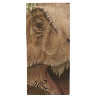 T Rex Dinosaur Wood USB Flash Drive