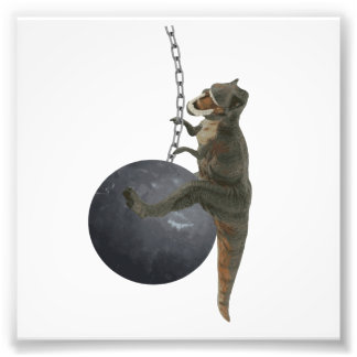 T-Rex Dinosaur Wrecking Ball Photo Print