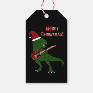 T-Rex Guitar Christmas Gift Tags