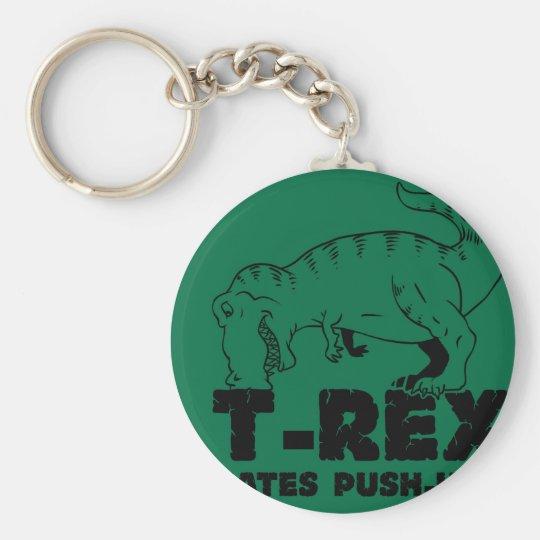 t rex hates push-ups basic round button keychain
