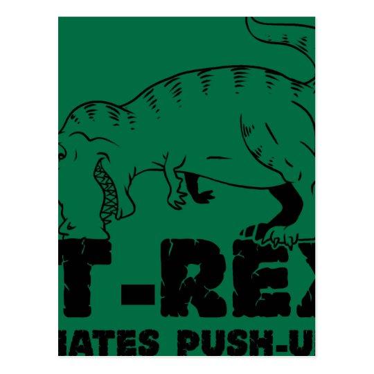 t rex hates push-ups postcard