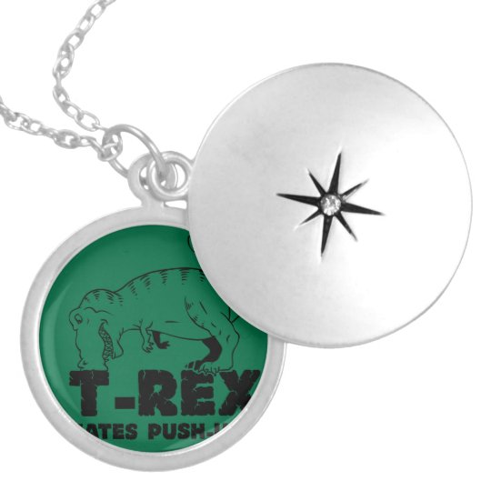 t rex hates push-ups silver plated necklace