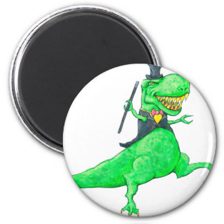 T-Rex in Top Hat and Tails 2 Inch Round Magnet