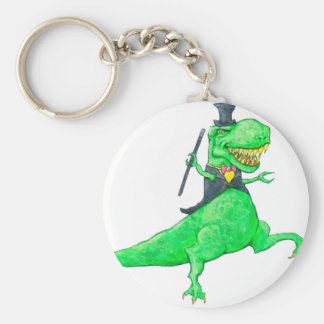 T-Rex in Top Hat and Tails Keychain