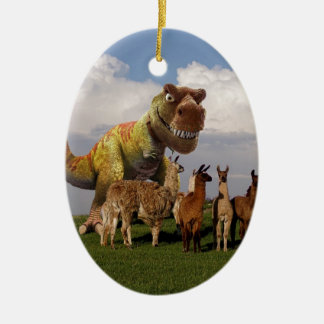 T Rex Llamas Ceramic Ornament